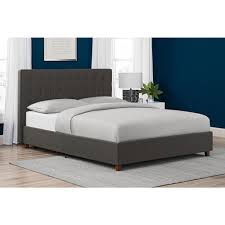 dhp emily blue upholstered linen queen size bed frame 4108639