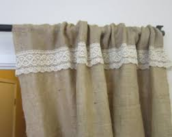 Smocked Burlap Curtains Shabby Chic Curtains Etsy