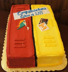 graduation locker cake would be good for a cake that is half