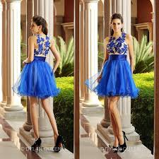 royal blue mini short prom party dresses crew sheer neck tulle