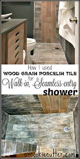 walk in seamless entry shower with wood grain tile uncookie cutter