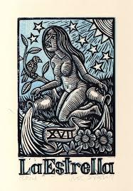 tarot tarot linocut print la estrella tarot card
