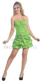lime green tagffeta strapless gathered pick up bubled short dress