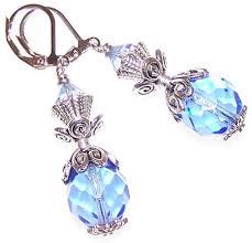 mermaid earrings blue mermaid beaded jewelry set
