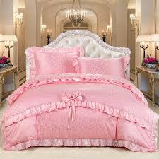 Bedding Sets For Girls Print by Solid Pink Jacquard Design Princess Theme Yorkshire Rose Print
