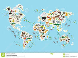 Free Vector World Map by Cartoon Animal World Map For Children And Kids Stock Vector