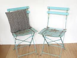 Metal Folding Bistro Chairs Vintage Turquoise Metal Folding Garden Bistro Chairs Vinterior