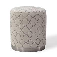 cream velvet quatrefoil pattern round ottoman footstool ottoman