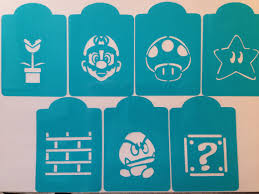 mario bros video game cookie stencil cupcake cake stencils