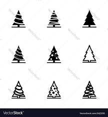 black christmas tree icon set royalty free vector image