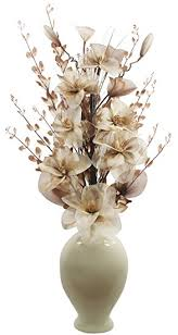 Large Brown Floor Vase Tall Floor Vase For Living Room Or Hall With Cream And Brown