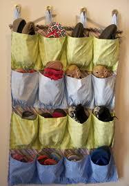 homemade hanging fabric shoe rack pocket on door of inspirational