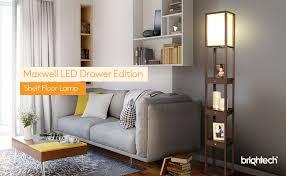 brightech maxwell led drawer edition shelf floor lamp modern