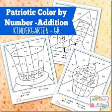 free patriotic color by addition math worksheets