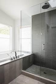 Contemporary Tile Bathroom - gray shower tile bathroom contemporary with none
