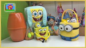 big easter eggs big spongebob egg opening minions toys
