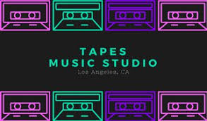 Business Card Music Black With Neon Casette Tapes Music Producer Music Business Card