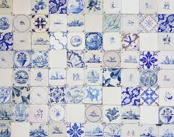 mixed aged antique dutch wall tiles as an unique backsplash
