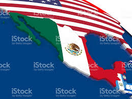 Map Of Mexico And Usa by Mexico On 3d Map With Flags Stock Photo 544571746 Istock