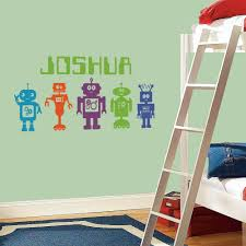 robots wall stickers decals robot wall decals with a green name on the wall beside a bed