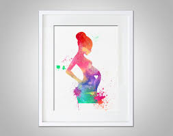 watercolor art expectant mother baby shower gift modern 8x10 wall