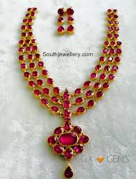 necklace making set images Three step ruby necklace set jewellery designs jpg