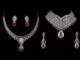 diamond ruby necklace sets images Latest beautiful diamond necklace set designs with weight ruby jpg