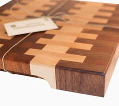 hand made walnut and maple end grain cutting board by blowing rock