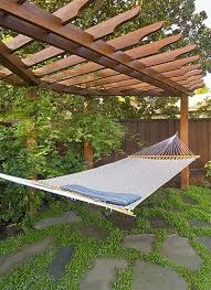 pergola with hammock stones with ground cover backyard ideas