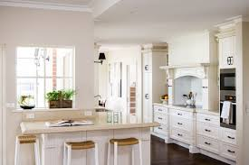 clean country style kitchen design in white theme with white