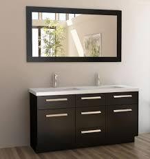 Trough Sink Bathroom Vanity Traditional Guest Bathroom Decor Ideas With Rectangle Mirror Wall