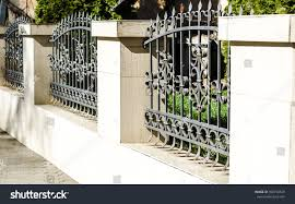 fence wrought iron fence forging stock photo 390734539