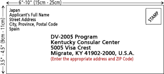 rapid immigration green card lottery envelope address req