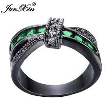 fashion cross rings images Junxin men green cross ring fashion white black gold filled jpg