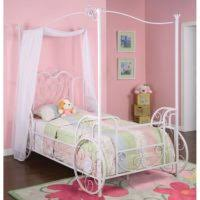 Pink And White Striped Rug Bedroom Carved White Wooden Canopy Bed With Curved Headboard And