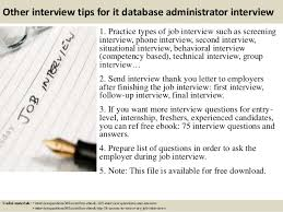 Sample Dba Resume by 17 Other Interview Tips For It Database Administrator Sample Sql