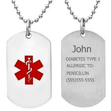 engraved dog tags for men free engraving unisex stainless steel diabetes type 1 alert