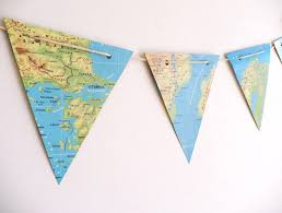 map paper map vintage paper bunting atlas maps bunting wedding decoration