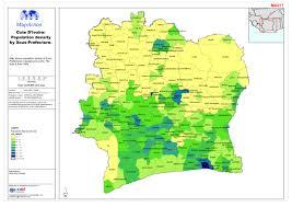 Ivory Coast Map Côte D U0027ivoire Population Density By Sous Prefecture Datasets