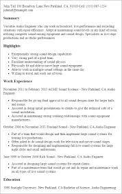 Sample Resume Engineering by Download Recording Engineer Sample Resume Haadyaooverbayresort Com