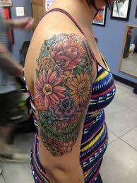 flower skull half sleeve rosewood tattoo studio skull and