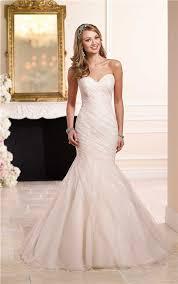 mermaid sweetheart ivory satin blush pink tulle ruched wedding dress
