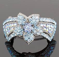 barrette clip flower blue austrian rhinestone hair barrette clip ponytail cuff