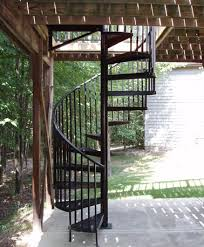 black outdoor through deck gated spiral stairs great lakes stair