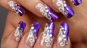 purple and white swirl design with holographic nail foil and