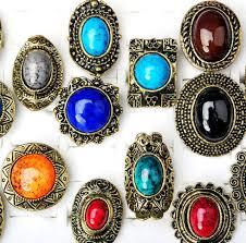 stone rings wholesale images 10pcs wholesale mixd lots charm big stone gemstone adjustable jpg