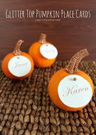 glitter top pumpkin place cards oh my creative