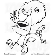 cartoon black and white line drawing of a lion using a comb and