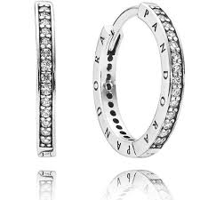 earrings uk pandora silver pave signature hoop earrings 290558cz the hut