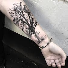 black and grey tree tattoos black and grey tree on right